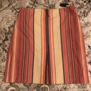Ann Taylor Loft striped front pleated skirt